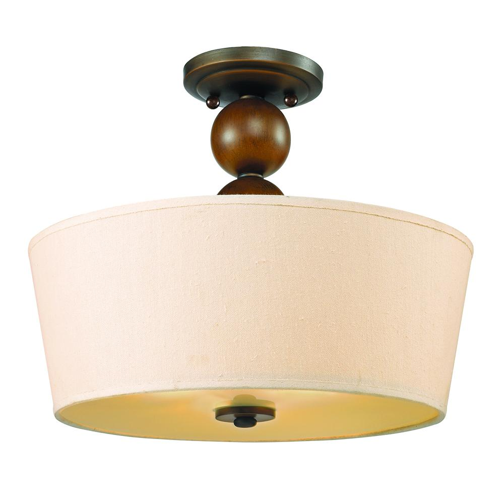 Flush mount drum shade ceiling light ceiling light ideas two light sovereign bronze natural linen shade drum semi flush mozeypictures Gallery