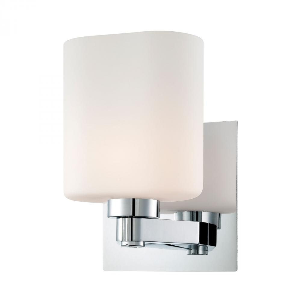 Embro 1 Light Vanity In Chrome And Oval White Op